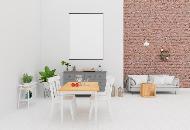 Wnętrze z ceglaną ścianą - rama pionowa