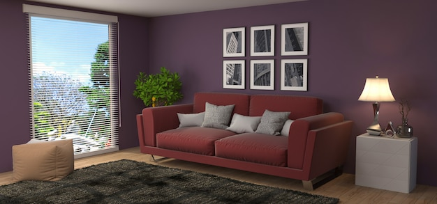 Wnętrze z kanapą odpłacającą się ilustracją