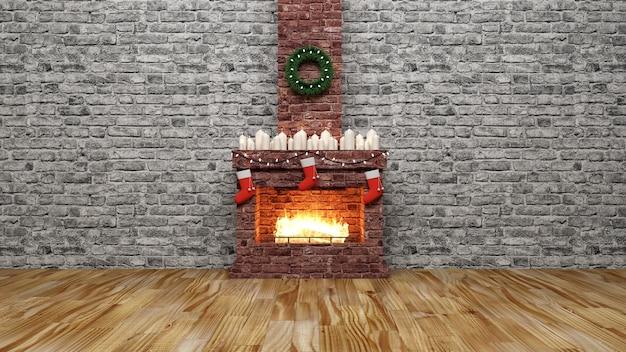 Wnętrze z płonącym kominkiem i akcesoriami na święta nowego roku