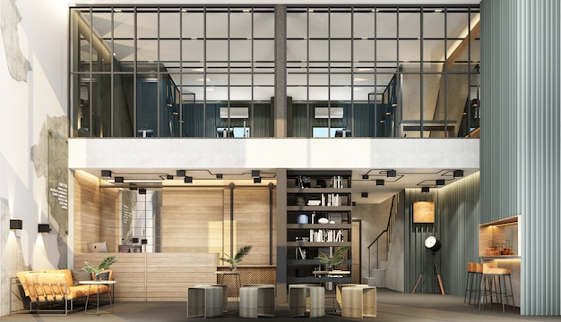 Wnętrze z recepcją w stylu loftu z obszarem siłowni ozdobione metalową i betonową ścianą z drewnianymi meblami renderingu 3d