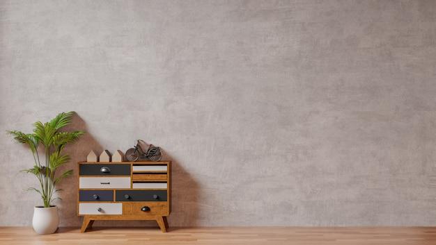 Wnętrze z surowym betonowej ściany, drzewa i drewna bocznego stołu kredensowym pustym ściennym tłem ,.