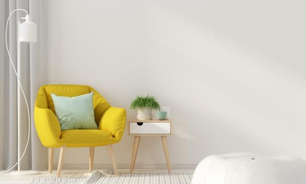 Wnętrze z żółtym fotelem