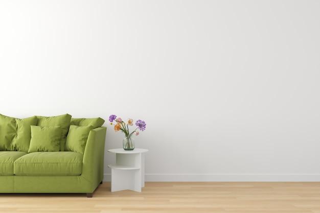 Wnętrze żywa scena bielu ściana, drewniana podłoga i zielona kanapa z pustą przestrzenią dla teksta.