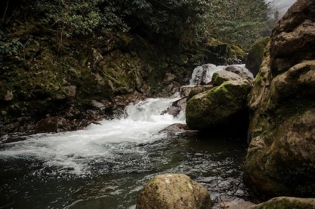 Woda dzikiej górskiej rzeki spadająca z porośniętych mchem kamieni w łaźniach afrodyty w gruzji