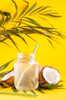 Woda kokosowa i orzechy kokosowe na jasnym, pastelowym, selektywnym skupieniu.