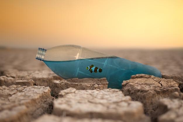 Woda morska w plastikowej butelce z rybą na suchej popękanej ziemi metafora zmiany klimatu