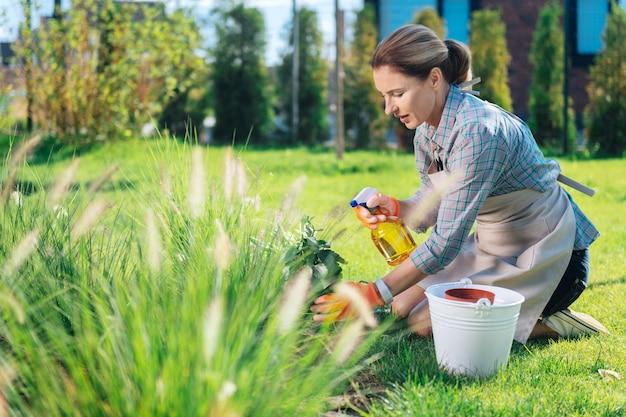 Woda na liściach. troskliwa kobieta, siedząc na trawie, spryskuje wodą liście swojej ulubionej rośliny domowej