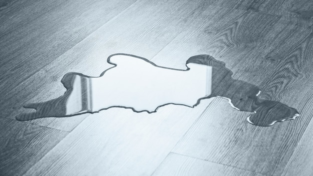 Woda na podłodze, problemy z sprzątaniem, zbliżenie
