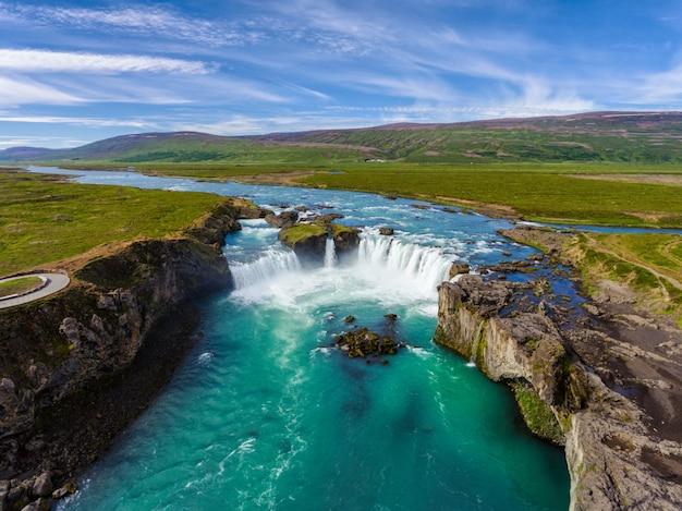 Wodospad godafoss w północnej islandii.