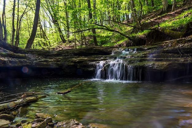 Wodospad na potoku w letnim lub wiosennym lesie w ciepły słoneczny dzień