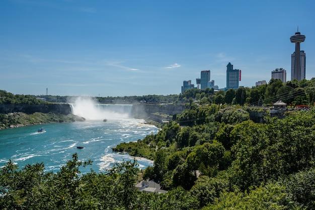 Wodospad niagara, widok z tęczowego mostu na granicy kanady i stanów zjednoczonych