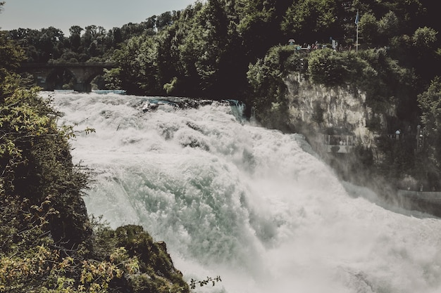 Wodospad renu to największy wodospad w europie w schaffhausen w szwajcarii. letni dzień ze słońcem. widok ze skały