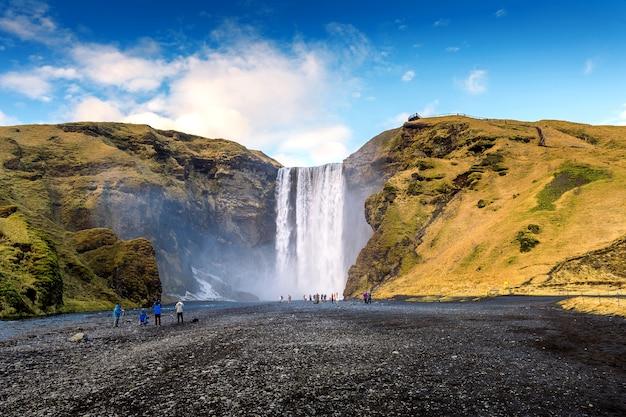 Wodospad skogafoss na islandii.