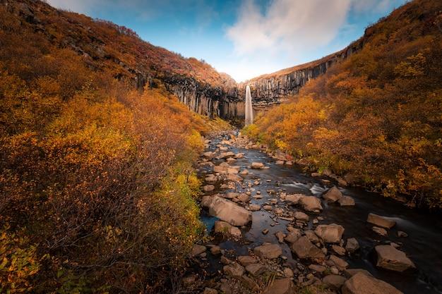 Wodospad svartifoss w parku narodowym skaftafell w południowej islandii.