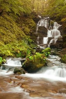 Wodospad w lesie na górskiej rzece z kamieniami