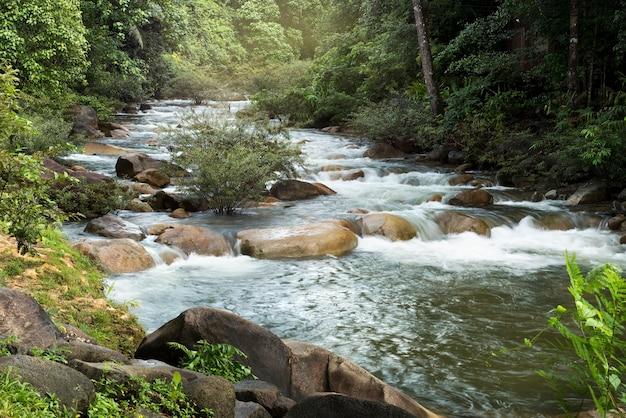 Wodospad w lesie w tajlandii