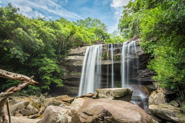 Wodospad w zielonym lesie.