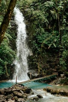 Wodospad z drewnianym mostem w środku lasu w alajuela, kostaryka.