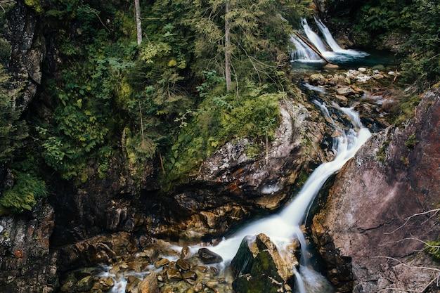 Wodospad z dużymi kamieniami w lesie, sea eye, polska, zakopane