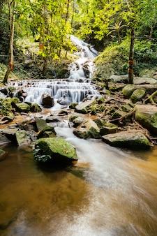 Wodospad z wodą wpływającą do linii, strzelający z długim czasem otwarcia migawki.