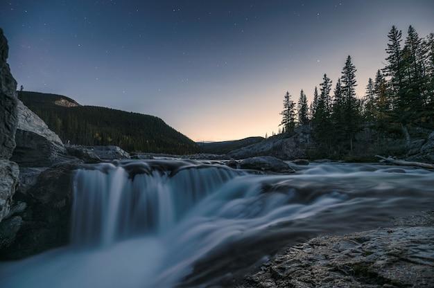 Wodospady bystre płynące po skałach w lesie sosnowym wieczorem w elbow falls