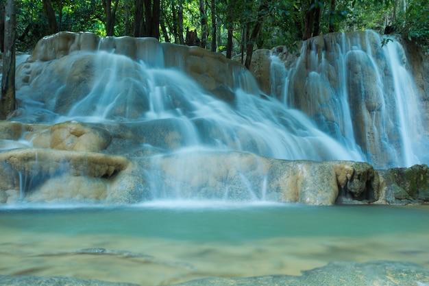 Wodospady w głębokim lesie