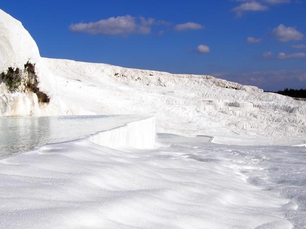 Wody termalne pamukkale z białymi skałami.