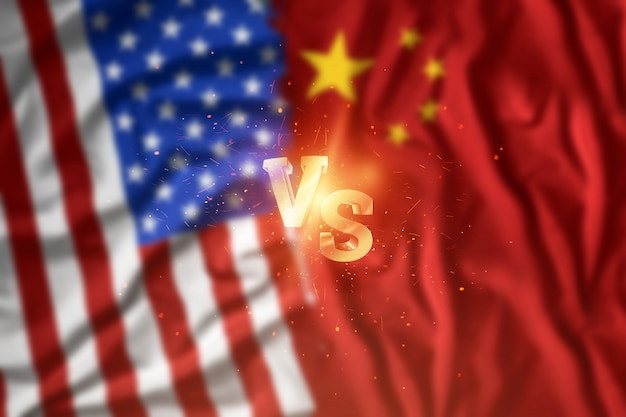 Wojna handlowa między chinami a stanami zjednoczonymi, flaga amerykańska i chińska. rozejm, wojna, sankcje, biznes.