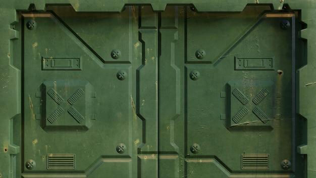 Wojskowe zielone drzwi science fiction do instalacji statków kosmicznych i futurystycznych ośrodków naukowych, odizolowane. renderowanie 3d