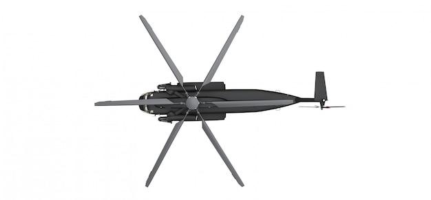 Wojskowy helikopter transportowy lub ratowniczy na białej powierzchni