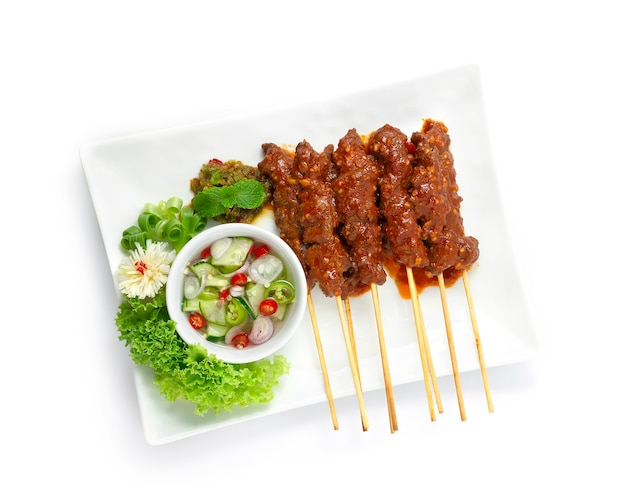 Wołowina satay sate daging indonesia food appetizer łatwe danie