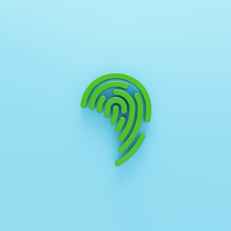 Wolumetryczna zielona ikona odcisku palca na białym tle 3d renderowany symbol cyfrowy