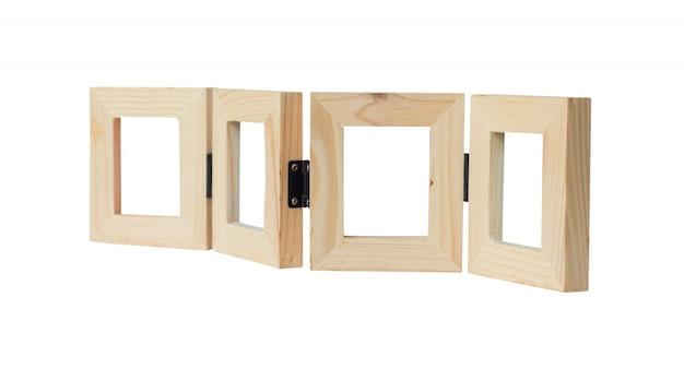 Woodens obrazka ramy odizolowywać na bielu