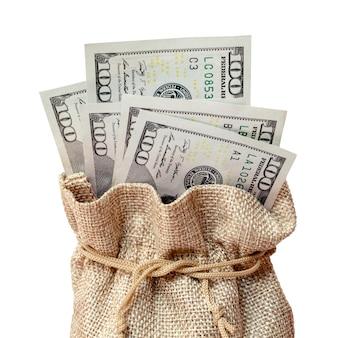 Worek dolarów na białym tle odizolowane