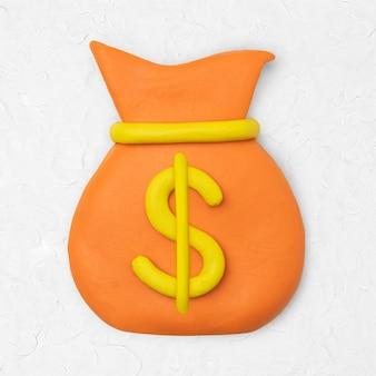 Worek na pieniądze glina ikona śliczna diy finanse kreatywna grafika rzemieślnicza