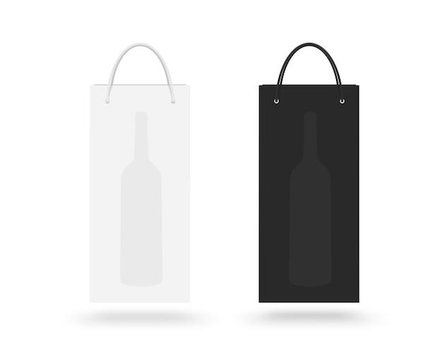 Worek papierowy wina na białym tle