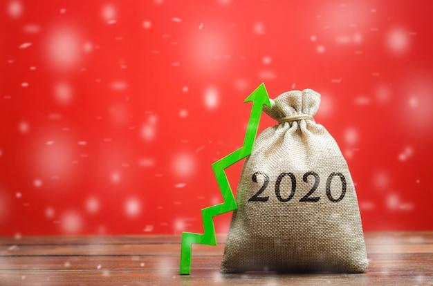 Worek pieniędzy 2020 i zielona strzałka w górę. planowanie strategii i budżetu. prognozowanie biznesu.