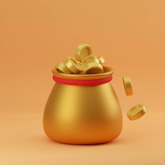 Worek pieniędzy i ikona złote monety z kolorem znaku dolara i renderowaniem 3d tła