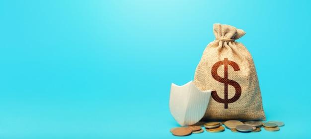 Worek pieniędzy i tarcza ochronna. gwarancja ochrony środków oszczędności i inwestycji