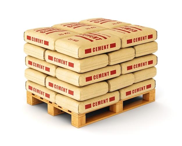 Worki cementowe układane są na drewnianej palecie.