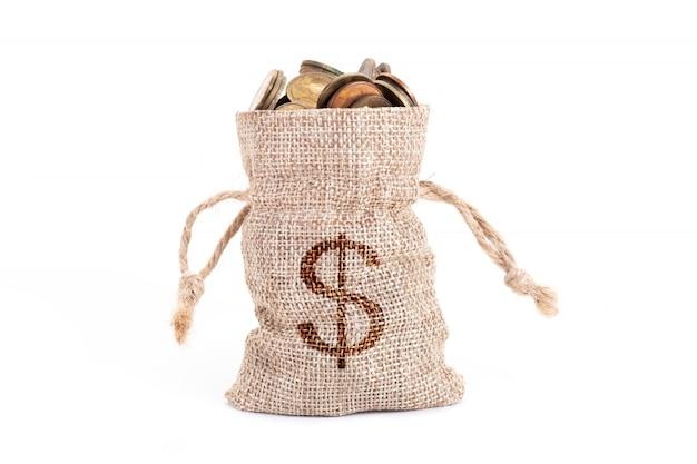 Worki pieniędzy i monety na białym tle