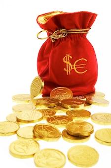 Worki pieniędzy z monetami