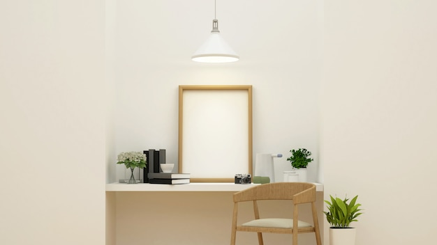 Workspace and studio picture - rendering 3d