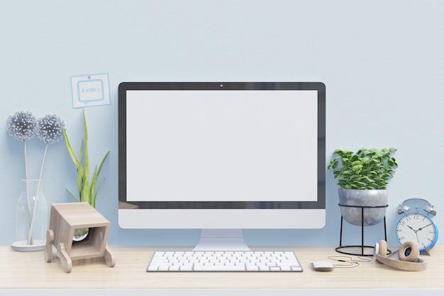 Workspace makieta biurko z komputerem stacjonarnym z roślin domowych i materiałów biurowych
