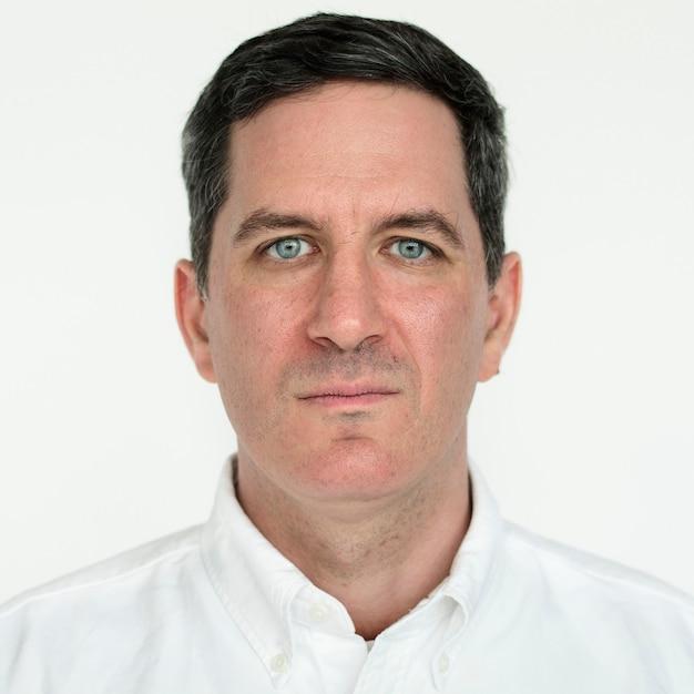 Worldface-amerykański mężczyzna na białym tle