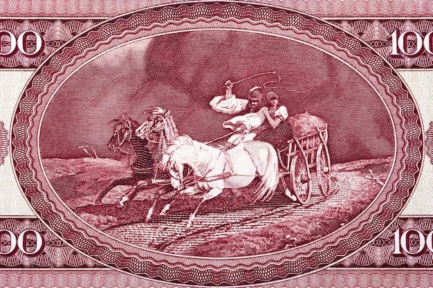 Wóz konny ze schronienia took ze starego forinta węgierskiego