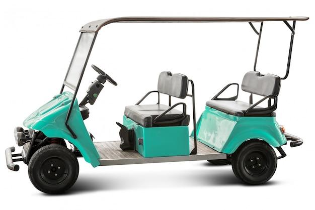 Wózek golfowy na białym tle