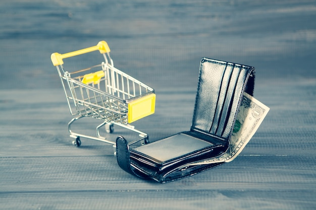 Wózek i portfel. koncepcja kosztu zakupu