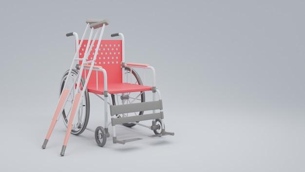 Wózek inwalidzki z kulami, ilustracja na międzynarodowy dzień niepełnosprawnych.