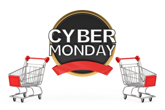 Wózek koszyk z cyber poniedziałek sprzedaż transparent na białym tle. renderowanie 3d